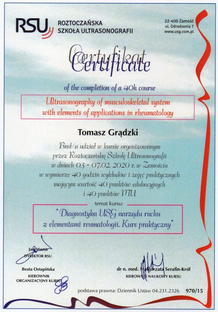 certyfikat diagnostyka usg narządu ruchu elementy reumatologii