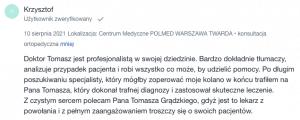 Opinia pacjenta o Tomaszu Grądzkim - diagnoza operacja kolana - sierpień 2021 - Polmed Warszawa