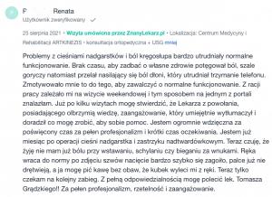 Opinia ze Znanylekarz.pl pacjentki ortopedy Tomasza Grądzkiego - zespół cieśni nadgarstka, zastrzyk nadtwardówkowy - sierpień 2021