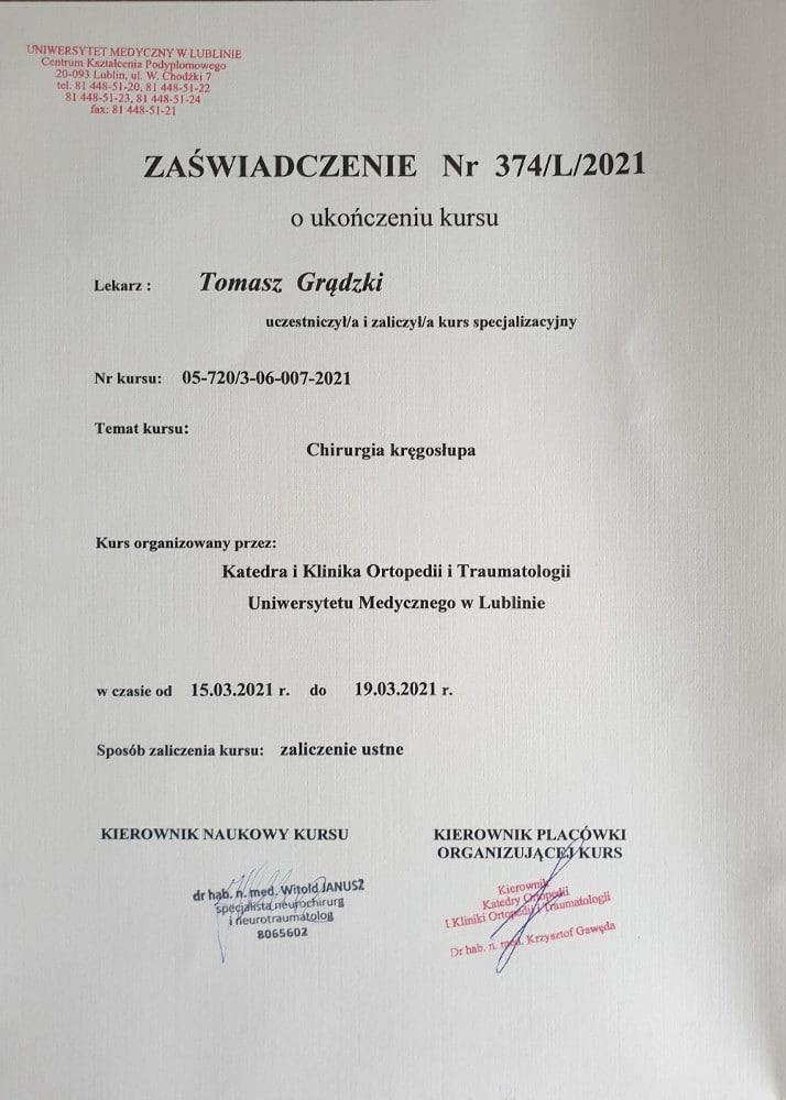 Chirurgia kręgosłupa - kurs specjalizacyjny - marzec 2021 - zaświadczenie dla Tomasza Grądzkiego