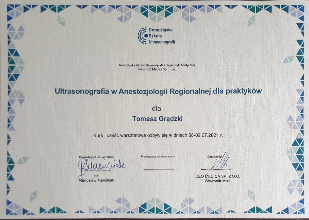 Kurs z ultrasonografii w anestezjologii - lipiec 2021 - Tomasz Grądzki